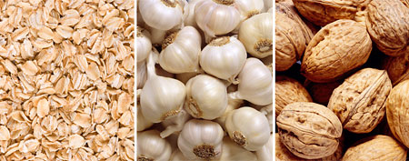 Oatmeal, garlic, walnuts.  (Thinkstock)