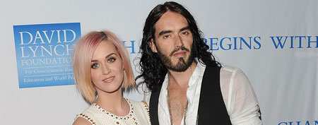 LOS ANGELES, CA - DECEMBER 03: Singer Katy Perry (L) and actor Russell Brand attend the 3rd Annual 'Change Begins Within' Benefit Celebration presented by The David Lynch Foundation held at LACMA on December 3, 2011 in Los Angeles, California. (Photo by Jason Merritt/Getty Images)