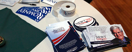 A variety of campaign literature and bumper stickers. (AP Photo/Charles Krupa)