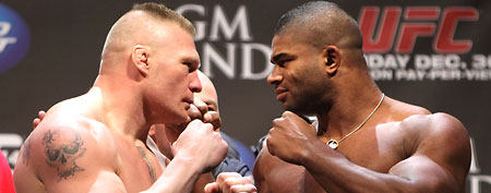 Heavyweight opponents Brock Lesnar and Alistair Overeem face off after weighing in during the UFC 141 Official Weigh In at the MGM Grand Garden Arena on December 29, 2011 in Las Vegas, United States. (Photo by Josh Hedges/Zuffa LLC/Zuffa LLC via Getty Images)