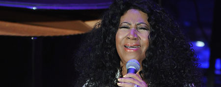 The Queen of Soul &amp; Living Legend Aretha Franklin performs to a SRO audience at the Ryman Auditorium on October 19, 2011 in Nashville, Tennessee. (Photo by Rick Diamond/Getty Images)