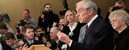 Republican presidential candidate, Rep. Ron Paul (R-Texas) speaks during a campaign stop in Des Moines, Iowa, on Monday. (AP Photo/Chris Carlson)
