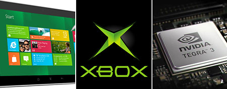Windows 8 screen, Xbox logo, Tegra 3 chip. (Microsoft (left and middle), NVidia)