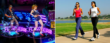 Dance Central (L), and women jogging. (Microsoft, ThinkStock)
