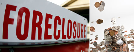 Foreclosure sign (AP); change (Thinkstock)