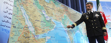 Iran's navy chief Adm. Habibollah Sayyari briefs media on an upcoming naval exercise, in a press conference in Tehran, Iran  (AP Photo/Fars News Agency, Hamed Jafarnejad)