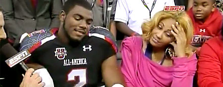 Landon Collins and his mother. (Screen grab courtesy of ESPN)