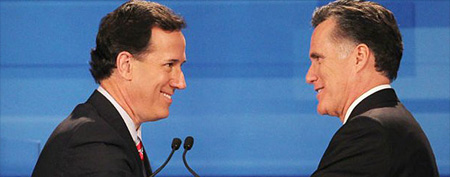 Rick Santorum and Mitt Romney. (ABC News)