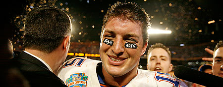 Florida quarterback Tim Tebow is interviewed after the BCS Championship NCAA college football game against Oklahoma in Miami, Thursday, Jan. 8, 2009. (AP Photo/Lynne Sladky)