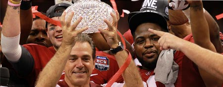 Head coach Nick Saban of the Alabama Crimson Tide celebrates with the trophy after defeating Louisiana State University Tigers in the 2012 Allstate BCS National Championship Game at Mercedes-Benz Superdome on January 9, 2012 in New Orleans, Louisiana. (Photo by Ronald Martinez/Getty Images)