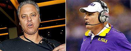 (L-R) Former Saints QB and father of LSU player Bobby Hebert (Getty) and LSU head coach Les Miles (Getty)