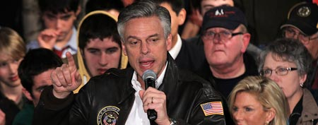Republican presidential candidate and former Utah Gov. Jon Huntsman (C) speaks to voters during a 'Restoring Trust Rally' January 9, 2012 in Exeter, New Hampshire. (Photo by Alex Wong/Getty Images)