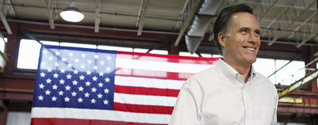 Republican presidential candidate, former Massachusetts Gov. Mitt Romney, campaigns at Gilchrist Metal Fabricating in Hudson, N.H., Monday, Jan. 9, 2012. (AP Photo/Charles Dharapak)