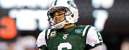 New York Jets quarterback Mark Sanchez reacts during the third quarter of an NFL football game against the New York Giants Saturday, Dec. 24, 2011, in East Rutherford, N.J. (AP Photo/Julio Cortez)