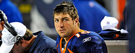 Denver Broncos quarterback Tim Tebow (15) on his bench. (Ron Chenoy-US PRESSWIRE)