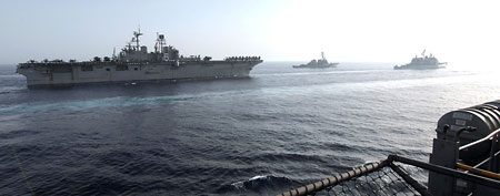 File photo of U.S. warships transiting the Gulf of Oman (AP)