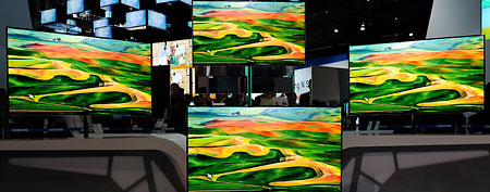 Samsung 55-inch super OLED televisions are displayed at the company's booth at the 2012 International Consumer Electronics Show (Getty Images)
