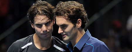 Rafael Nadal of Spain greets Roger Federer of Switzerland. (Photo by Michael Regan/Getty Images for Barclays ATP Finals)