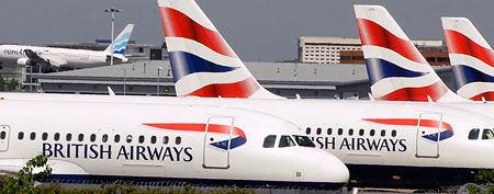 British Airways planes are seen parked at Heathrow Airport in London. (AP Photo/Kirsty Wigglesworth)