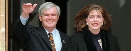 House Speaker Newt Gingrich of Georgia and his then-wife Marianne leave their home for Capitol Hill in 1997. (AP File Photo/Mark Wilson)