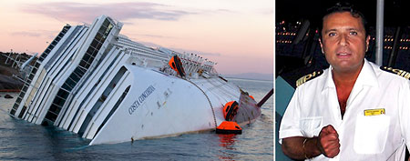 Left: The Costa Concordia cruise ship which ran aground off the west coast of Italy at Giglio island January 20,   2012. Right: Francesco Schettino (Reuters)