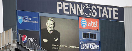 An image of Penn State Nittany Lions former head coach Joe Paterno is displayed on a video board inside of Beaver Stadium. Mandatory Credit: Andrew Weber-US PRESSWIRE