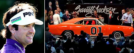 (L-R) Bubba Watson (Getty) and the General Lee (Video grab courtesy of SpeedTV.com)