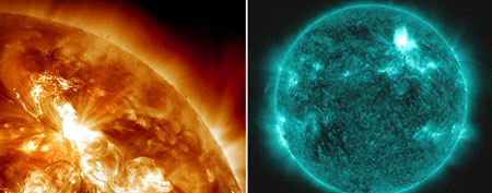 A solar flare erupts from the sun's northeastern hemisphere on Sunday; on Monday, a special teal wavelength image captures another flare from the sun. (AP Photos/NASA)