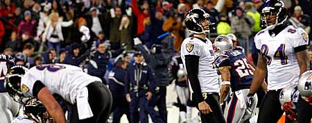 Billy Cundiff #7 of the Baltimore Ravens reacts after missing a game tying field goal (Photo by Rob Carr/Getty Images)