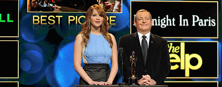 Jennifer Lawrence and Tom Sherack announce the nominees during the 84th Academy Awards Nominations Announcement at AMPAS Samuel Goldwyn Theater on January 24, 2012 in Beverly Hills, California. (Photo by Jordan Strauss/WireImage)