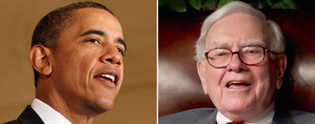Barack Obama (REUTERS/Kevin Lamarque); Warren Buffett; (AP Photo/Nati Harnik)