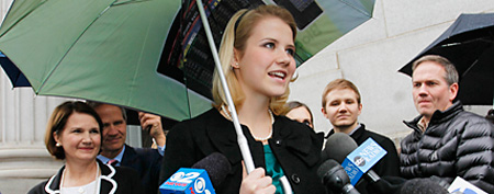 Elizabeth Smart address the media following a guilty verdict for her kidnapper in 2010. (AP)