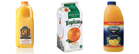 Orange juices. (Natalies, Tropicana, Odwalla)