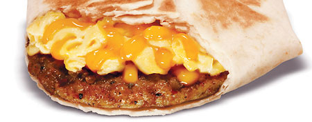 Taco Bell's new Johnsonville sausage and egg wrap (via AP)