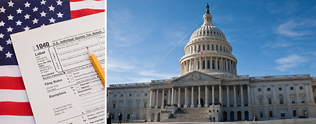 Tax form (Thinkstock); U.S. Capitol building (Photo by Brendan Hoffman/Getty Images).