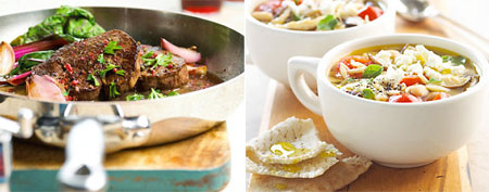 (L-R) Skillet beef tenderloin; minestrone with mushrooms and feta (Courtesy of Better Homes & Gardens);