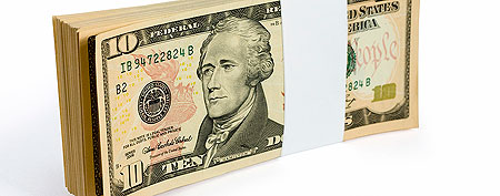 Stack of $10 bills (ThinkStock)