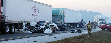 Cars involved in a deadly crash on I-75 in Gainesville, Fla. (AP Photo/Alachua County Sheriff's Office, HO)