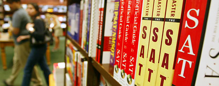 SAT prep books in a Barnes & Noble store (Getty Images)