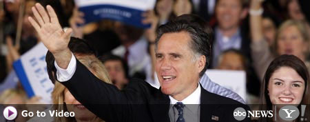 Republican presidential candidate, former Massachusetts Gov. Mitt Romney waves during his victory celebration after   winning the Florida primary election Tuesday Jan. 31, 2012, in Tampa, Fla. (AP Photo/Gerald Herbert)