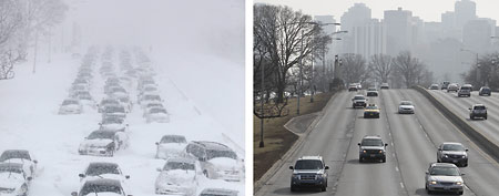 In this photo combination, hundreds of cars are stranded on Lake Shore Drive on Feb. 2, 2011, in Chicago, left, while traffic moves along smoothly on the same stretch of Lake Shore Drive on Wednesday, Feb. 1, 2012, right. (AP Photo/Kiichiro Sato, File)