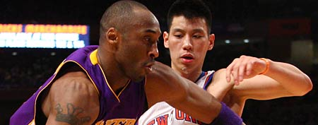 Kobe Bryant #24 of the Los Angeles Lakers drives in the second quarter against Jeremy Lin #17 of the New York Knicks at Madison Square Garden (Photo by Chris Chambers/Getty Images)