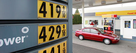 Gas prices at a station in Portland, Ore. (AP)