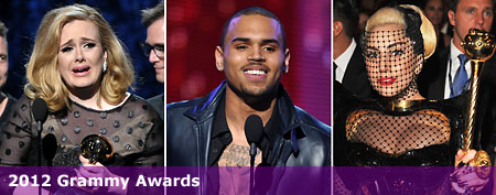 (L-R) Adele (John Shearer/Getty Images); Chris Brown (John Shearer/Getty Images); Lady Gaga (Lester Cohen/WireImage)
