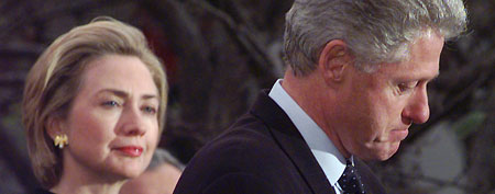 President Clinton makes a statement as first lady Hillary Rodham Clinton looks on. (AP Photo/Susan Walsh)