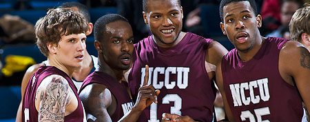 From left, North Carolina Central guard Landon Clement, guard Justin Leemow, forward David Best, and forward Samuel Chasten huddle during a timeot in the first half of an NCAA college basketball game with Michigan, Tuesday, Dec. 14, 2010, at Crisler Arena in Ann Arbor, Mich. (AP Photo/Tony Ding)