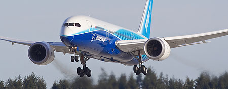 A Boeing 787 Dreamliner conducts a test flight March 20, 2011. (Stephen Brashear/Getty Images)