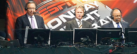 Monday Night Football commentators Ron Jaworski, Jon Gruden and Mike Tirico. (Getty Images)