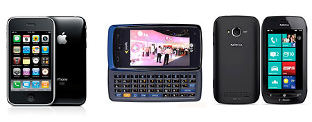 (L-R) AT&T: iPhone 3GS, Sprint: LG Rumor Touch, T-Mobile: Nokia Lumia 710