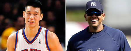 Jeremy Lin, Alex Rodriguez (AP photos)